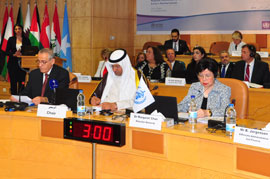 Regional Director Dr Alwan, WHO Director-General Dr Chan, Chair of the 62nd Session of the Regional committee Dr Ali Saad Al-Obaidi during the opening session