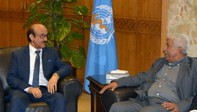 WHO Regional Director meets with H.E. Dr Nasir Baoum, Minister of Public Health and Population, Yemen