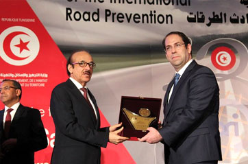 Dr Mahmoud Fikri, WHO Regional Director, has been honoured yesterday by H.E. Prime Minister Of Tunisia, Yousef El-Shahed, during the inaugural session of the PRI World Congress on Road Safety currently held in Tunisia