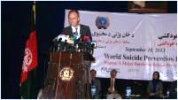 Dr Rik Peeperkorn, WHO Representative for Afghanistan, addresses an audience on the occasion of World Suicide Prevention Day 2013