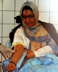 Dr Suraya Dalil, Minister of Public Health of Afghanistan donating blood on the occasion of World Blood Donor Day 2013