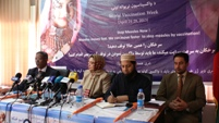 Speakers on the stage on the occasion of Vaccination Week in Afghanistan