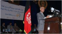 A speaker addresses the audience in Afghanistan on the occasion of World Malaria Day 2013