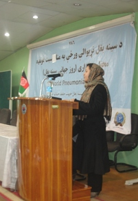 Presenter speaking at the celebration of World Pneumonia Day in Afghanistan