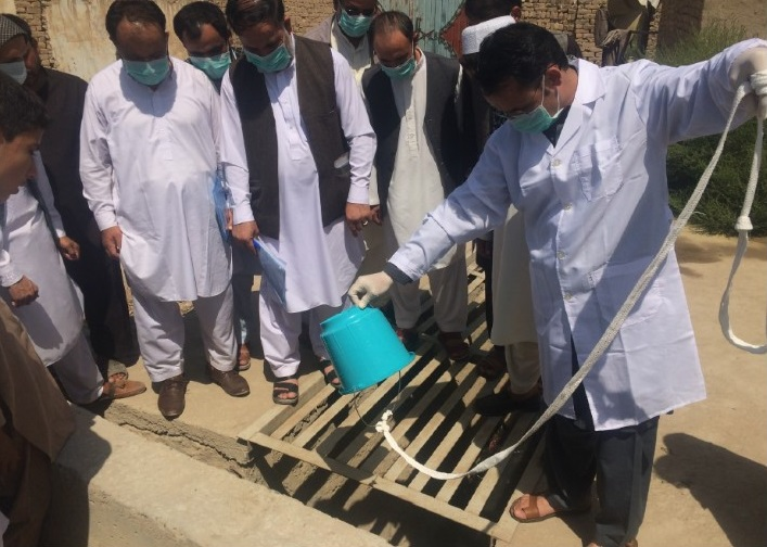 WHO team supported a practical training session at a new sampling site in Kunduz city in August 2017. WHO/A.Zahed