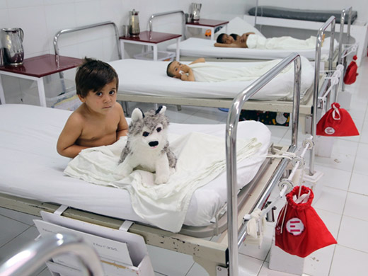 "Credit:� WHO Afghanistan/G.Elham Mosawer, 4, broke his femur when he fell from a roof at his home. His family brought him to the Emergency Surgical Centre for operations and treatment. ""Most of the patients we treat here are victims of war, landmines and roadside bombs but sometimes we also get some other types of trauma resulting for example from road accidents and natural disasters,"" says Mohammad Taous, head of the nursing department."