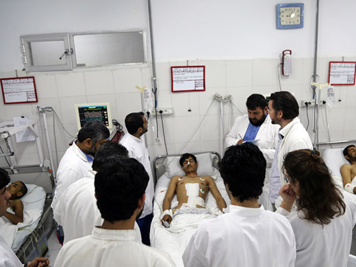 Credit:� WHO Afghanistan/G.Elham Emergency's international staff focus on extensive on-the-job training, both theoretical and practical, to build the capacity of local staff to effectively stabilize and treat trauma cases. The lack of trained medical personnel, particularly women, remains a major challenge throughout Afghanistan, especially in the south.