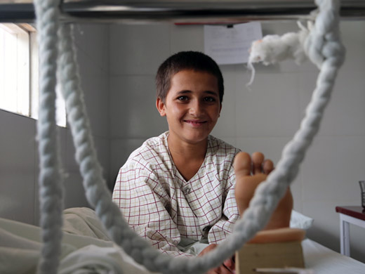 Credit:� WHO Afghanistan/G.Elham Nabi was hit by shrapnel near his home in the Kajaki district in the east of Helmand province. He was treated at the Emergency hospital and recovered well. Children suffer disproportionately from the conflict in Afghanistan and there has recently been a spike in the number of child casualties of war. In 2016, 923 children were killed and 2589 injured, an increase of 24% over the previous year.