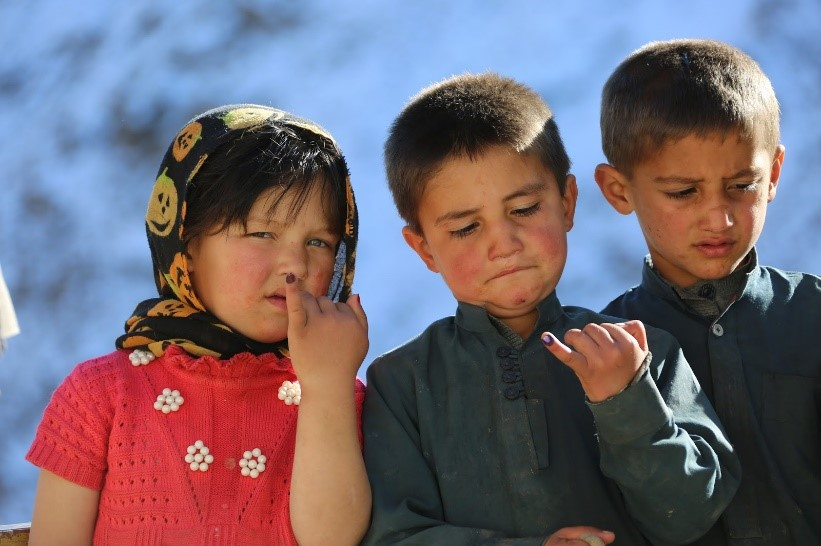 Twin brothers, Habib-u Rahmand and Hamid-u Rahman and their niece, showing their inked fingers after taking polio drops in Botawar village, Rukha district of Panjshir province. Photo: Ahmadullah Amarkhil/WHO Afghanistan