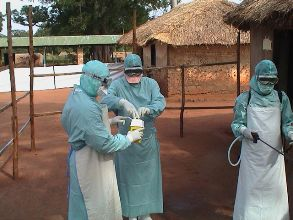 Laboratory staff collecting samples during a viral haemorrhagic fever outbreak