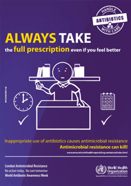 Only use antibiotics when prescribed by a trained health professional