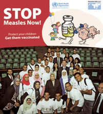 Members of the WHO vaccine-preventable diseases programme and others pose for a group photo on the occasion of the start of Vaccination Week 2013