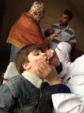 WHO works to coordinate health services provided to Syrian refugees residing in Egypt. A young boy is given an oral vaccine