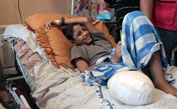13-year-old Mohammed Abu-Hussain's father was killed by an Israeli rocket fire during the 2006 war in Gaza