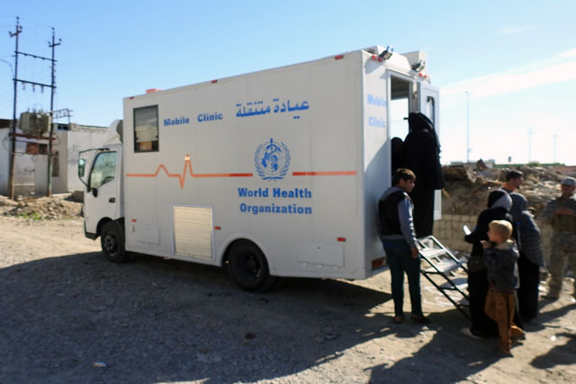 Credit: WHO Iraq: The new exodus of displacements and the movement of returnees in Iraq in 2016 continue to challenge health response operations due to shortages of medical personnel, supplies and funding resources. In 4 of the most severely affected areas in the country – Anbar, Ninewa, Salah Aldeen and Diyala – 14 hospitals and more than 170 health facilities have been damaged or destroyed. The escalating crises in Falluja and Mosul have further impacted an already over-stretched health sector. Compounding the situation, the fiscal collapse in the country has led to shortages in salaries for public servants, including health staff. WHO, working closely with national health authorities, provided mobile medical clinics and health supplies, trained health teams, set up camp health services and ensured availability of emergency life-saving health services for people with war-related trauma injuries. Accomplishments in Iraq included: scaling up trauma care services for injured people displaced from Mosul and ensure health services for people exposed to toxic sulfur and oil fumes scaling up health services for displaced populations in Anbar, Kirkuk, Salaheddin and Dohuk expanding the communicable disease early warning system conducting emergency vaccination campaigns and introducing the inactivated polio vaccine developing cholera contingency plans.