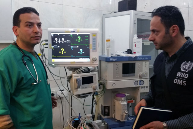 WHO also supports the provision of emergency services by rehabilitating emergency departments and operating theatres in hospitals across Syria. WHO has provided medical equipment such as portable X-ray machines, defibrillators, beds for intensive care units, portable ventilators, stretchers, medical examination tables and operating theatre equipment to almost all functioning public health hospitals across Syria.