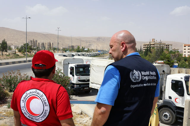 To gain access to people in hard-to-reach areas, WHO has established strategic partnerships with the Syrian Arab Red Crescent, more than 70 local nongovernmental organizations, and increased participation in interagency convoys to deliver health assistance across frontlines and to besieged areas. WHO has partnered with an additional 45 health partners working cross-border from Turkey and 11 from Jordan. WHO engages in continuous advocacy for access to health and humanitarian assistance for all people, regardless of location and regularly reports to the United Nations Security Council on the removal of surgical items and other health supplies from interagency convoys.