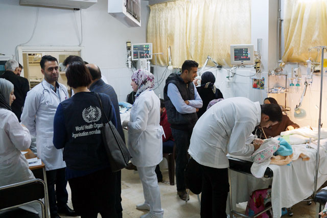 """In 2017, WHO is scaling up its response in the area of trauma care management in Syria, based on the following priorities: Strengthen trauma preparedness, care and management by building capacities, providing medicines, medical supplies, blood products and equipment across the country; Expand partnerships with nongovernmental organizations, especially in hard-to-reach and opposition controlled areas, to strengthen trauma care management, including referrals; Pre-position medical supplies near areas of intense conflict; Develop and conduct """"training of trainers"""" courses on trauma care in conflicts."""