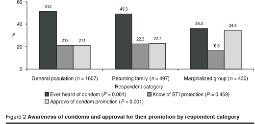 Figure 2 Awareness of condoms and approval for their promotion by respondent category