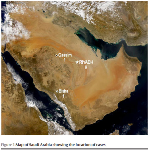 Figure 1: Map of Saudi Arabia showing the location of cases