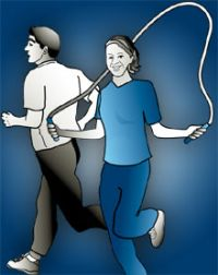 Graphic of man running and woman skipping