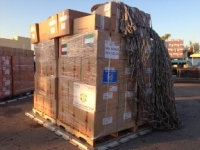Large boxes labelled Gaza containing medical supplies