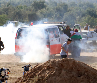 An ambulance attacked in Gaza during the Great March of Return demostrations