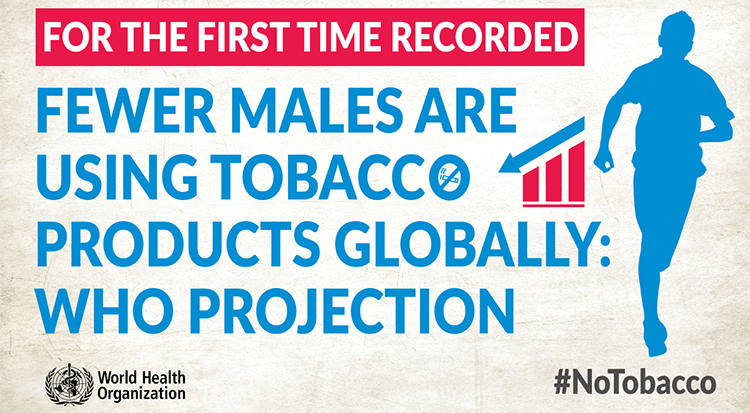 Fewer males are using tobacco products globally