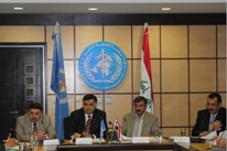 H.E. Dr Majeed Hamad Amin, the Minister of Health of Iraq, and Dr Syed Jaffar Hussain, WHO Representative for Iraq, sign the Country Cooperation Strategy document (2012–2017) during a ceremony attended by high-level dignatories conducted on the premises of the WHO country office in Amman