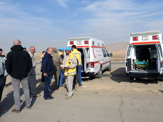 More than 30 ambulances have also been stationed in the transit areas, field hospitals, trauma stabilization points and other hospitals to support Ninewa Directorate of Health to transport patients who may be in need of urgent referral services.