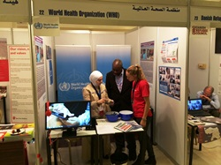 WHO showcases the new mobile public health surveillance system in Jordan, and the training programme for Syrian refugee doctors and nurses living in Turkey, at the Resilience and Development Forum Expo.  Credit: WHO/J. Swan