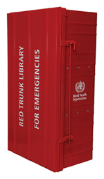 Image of a Red Trunk Library which looks like a large red closed metal chest with the words Red Trunk Library for emergencies written on the top with WHO logo visible on the side