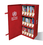 Image of an opened Red Trunk Library displaying the books contained within