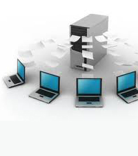 Four laptop computers surrounding a server with pieces of paper moving from the server to the computers