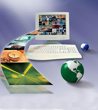 Graphic image of a computer from which a band of images are eminating out with two small globes, one green larger than the blue globe, next to the computer keyboard