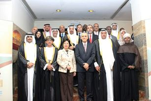Dr Margaret Chan, WHO Director-General, and Dr Ala Alwan, WHO Regional Director for the Eastern Mediterranean, with ministers and representatives of countries of the Region
