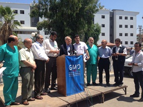 WHO's Regional Director Dr Ala Alwan holds a press conference to highlight the health challenges that need to be addressed immediately, including the referral of patients to hospitals outside of Gaza for life-saving treatment.