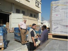 Image shows supplies being loaded onto truck. WHO has sent a total of US$ 2.5 million in medical supplies and medicines to support the needs of hospitals and clinics in Gaza.