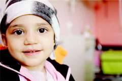 Four-year old Fatima from Syria was diagnosed with carcinoma eight months ago