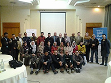 Participant journalists from Libya during the first round of training held in Tunisia