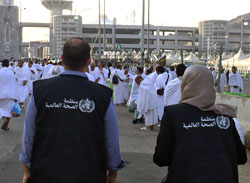 Health workers and pilgrims at the Hajj