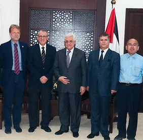 Dr Alwan meets with the Palestinian President Mahmoud Abbas and the Palestinian Minister of Health Dr Jawad Awwad and others to discuss what support to Gaza is needed