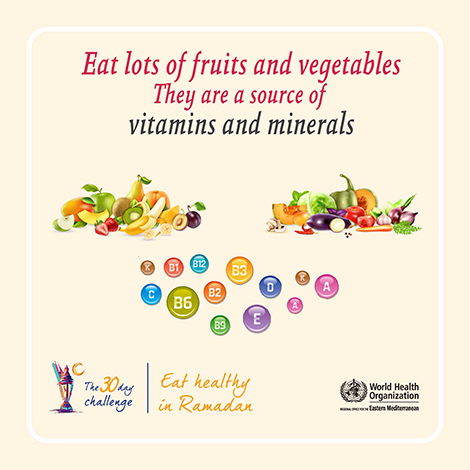 Eat lot of fruits and vegetables - they are sources of vitamnis and minerals