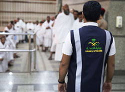 Thousands of health workers supporting pilgrims as they move to Arafat Mountain