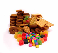 A heap of biscuits and sweets