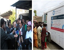 Two photos showing health cluster members meeting the public