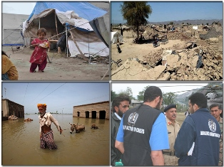 Four photos showing: a small girl by a tent in an internally-displaced persons camp; a collapsed building after an earthquake; a man leading his donkey through flood waters; and WHO staff in conversation with army personnel.