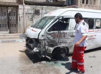 Two Palestinian Red Crescent ambulances were attacked in Beit Hanoun on 26 July, killing one worker and injuring three others. Photo: International Crescent of the Red Cross.