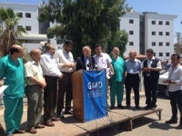 The WHO Regional Director of Eastern Mediterranean Dr. Ala Alwan addressed Ministry of Health officials and health workers August 11 at Shifa Hospital during a visit to the Gaza Strip to view conditions and damaged health facilities. Photo credit: WHO.