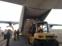 Essential donated medical supplies being loaded onto plane destined for Gaza
